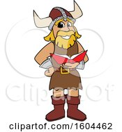 Male Viking School Mascot Character Reading A Book