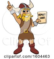 Clipart Of A Male Viking School Mascot Character Holding A Report Card Royalty Free Vector Illustration