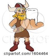 Clipart Of A Male Viking School Mascot Character Holding Out A Tooth Royalty Free Vector Illustration by Toons4Biz