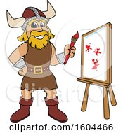 Clipart Of A Male Viking School Mascot Character Painting A Canvas Royalty Free Vector Illustration by Toons4Biz