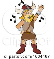 Clipart Of A Male Viking School Mascot Character Singing Royalty Free Vector Illustration by Toons4Biz