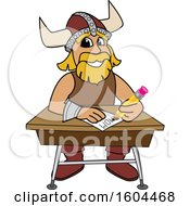 Clipart Of A Male Viking School Mascot Character Writing At A Desk Royalty Free Vector Illustration by Toons4Biz