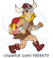 Male Viking School Mascot Character Running With A Backpack