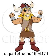 Clipart Of A Male Viking School Mascot Character Flexing His Muscles Royalty Free Vector Illustration by Toons4Biz