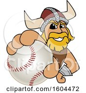 Clipart Of A Male Viking School Mascot Character Grabbing A Baseball Royalty Free Vector Illustration by Toons4Biz