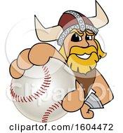 Poster, Art Print Of Male Viking School Mascot Character Grabbing A Baseball