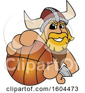 Clipart Of A Male Viking School Mascot Character Grabbing A Basketball Royalty Free Vector Illustration