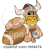 Clipart Of A Male Viking School Mascot Character Grabbing An American Football Royalty Free Vector Illustration by Toons4Biz