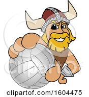 Clipart Of A Male Viking School Mascot Character Grabbing A Volleyball Royalty Free Vector Illustration by Toons4Biz
