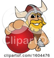 Clipart Of A Male Viking School Mascot Character Grabbing A Cricket Ball Royalty Free Vector Illustration by Toons4Biz