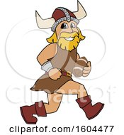 Clipart Of A Male Viking School Mascot Character Running With A Football Royalty Free Vector Illustration by Toons4Biz