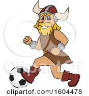Clipart Of A Male Viking School Mascot Character Playing Soccer Royalty Free Vector Illustration