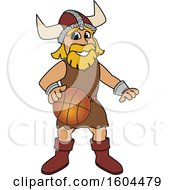 Clipart Of A Male Viking School Mascot Character Dribbing A Basketball Royalty Free Vector Illustration by Toons4Biz