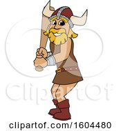 Clipart Of A Male Viking School Mascot Character Holding A Baseball Bat Royalty Free Vector Illustration