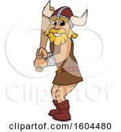 Poster, Art Print Of Male Viking School Mascot Character Holding A Baseball Bat
