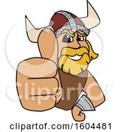 Clipart Of A Male Viking School Mascot Character Holding Up A Thumb Royalty Free Vector Illustration by Toons4Biz