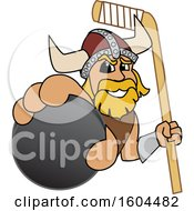 Male Viking School Mascot Character Holding A Hockey Puck And Stick