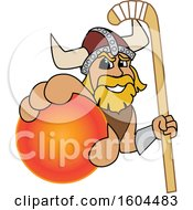 Male Viking School Mascot Character Holding A Hockey Ball And Stick