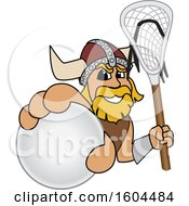 Male Viking School Mascot Character Holding A Lacrosse Ball And Stick