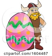 Clipart of a Male Viking School Mascot Character with an Easter Egg - Royalty Free Vector Illustration by Toons4Biz #COLLC1604487-0015