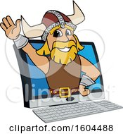 Clipart Of A Male Viking School Mascot Character Emerging From A Computer Screen Royalty Free Vector Illustration