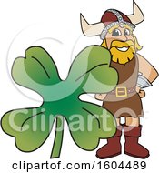 Male Viking School Mascot Character with a St Patricks Day Clover