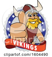 Clipart Of A Male Viking School Mascot Character Giving A Thumb Up On A Badge Royalty Free Vector Illustration by Toons4Biz
