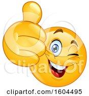 Poster, Art Print Of Cartoon Yellow Emoji Winking And Holding Up A Thumb