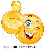 Clipart Of A Cartoon Yellow Emoji Winking And Holding Up A Thumb Royalty Free Vector Illustration