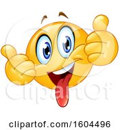 Clipart Of A Cartoon Yellow Emoji Sticking His Tongue Out And Holding Up Two Thumbs Royalty Free Vector Illustration