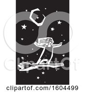 Clipart Of A Witch Standing Upright And Flying On A Broom Against A Night Sky In Black And White Woodcut Royalty Free Vector Illustration