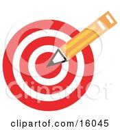 Yellow Number Two Pencil Over A Red Bullseye Target Symbolizing Targeted Advertising Clipart Illustration by Andy Nortnik #COLLC16045-0031