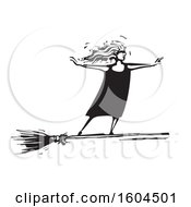 Witch Standing Upright And Flying On A Broom In Black And White Woodcut
