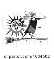 Witch Standing Upright And Flying On A Broom Against A Sun In Black And White Woodcut
