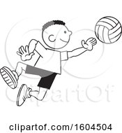 Clipart Of A Black Boy Playing Volleyball Royalty Free Vector Illustration
