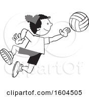 Clipart Of A Black Girl Playing Volleyball Royalty Free Vector Illustration