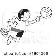 Clipart Of A Black And White Boy Playing Volleyball Royalty Free Vector Illustration