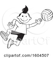 Clipart Of A Black And White Girl Playing Volleyball Royalty Free Vector Illustration