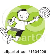 Clipart Of A Black Boy Playing Volleyball Over A Green Circle Royalty Free Vector Illustration
