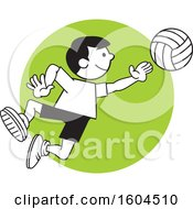 Clipart Of A Boy Playing Volleyball Over A Green Circle Royalty Free Vector Illustration