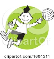 Clipart Of A Girl Playing Volleyball Over A Green Circle Royalty Free Vector Illustration