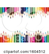 Clipart Of A Background Of Colored Pencils On White Royalty Free Vector Illustration by dero