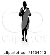 Silhouetted Business Woman With A Shadow On A White Background