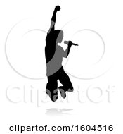 Silhouetted Male Singer With A Reflection Or Shadow On A White Background