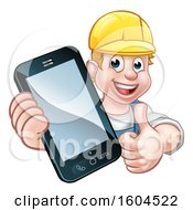White Male Handyman Holding Out A Smart Phone And Thumb Up Over A Sign