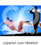 Clipart Of A Silhouetted Full Length Male Military Veteran Saluting Over An American Ribbon Flag And Sky Royalty Free Vector Illustration