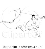 Lineart Black Man Running With A Kite