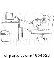 Clipart Of A Cartoon Lineart Black Businessman Sleeping With His Feet On His Desk Royalty Free Vector Illustration