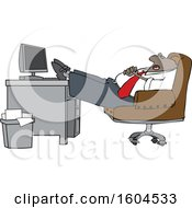 Clipart Of A Cartoon Black Businessman Sleeping With His Feet On His Desk Royalty Free Vector Illustration