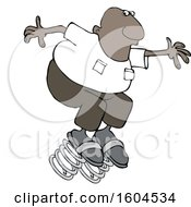 Poster, Art Print Of Cartoon Black Man Springing Forward